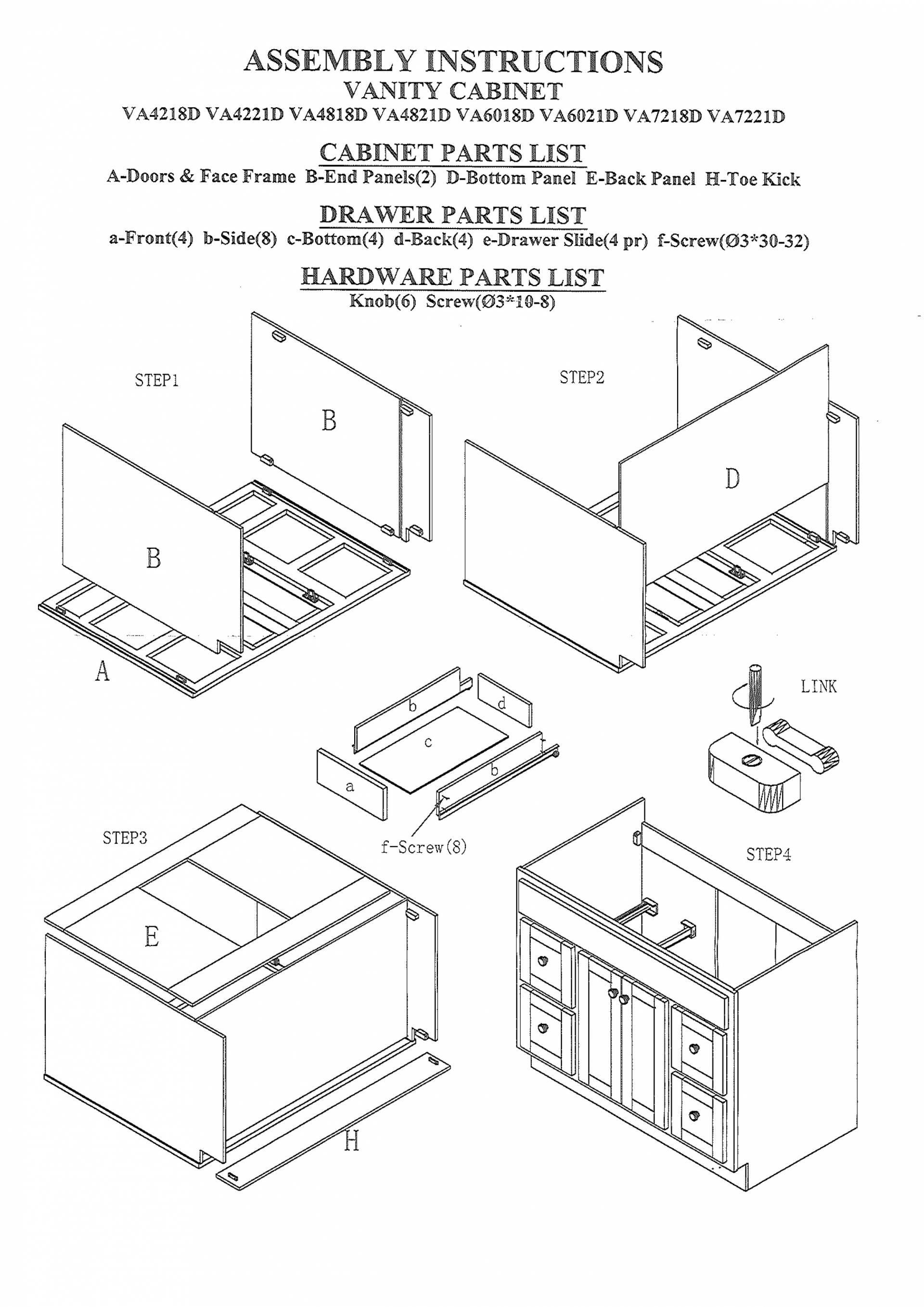 Kitchen Cabinet Parts Manual Guide