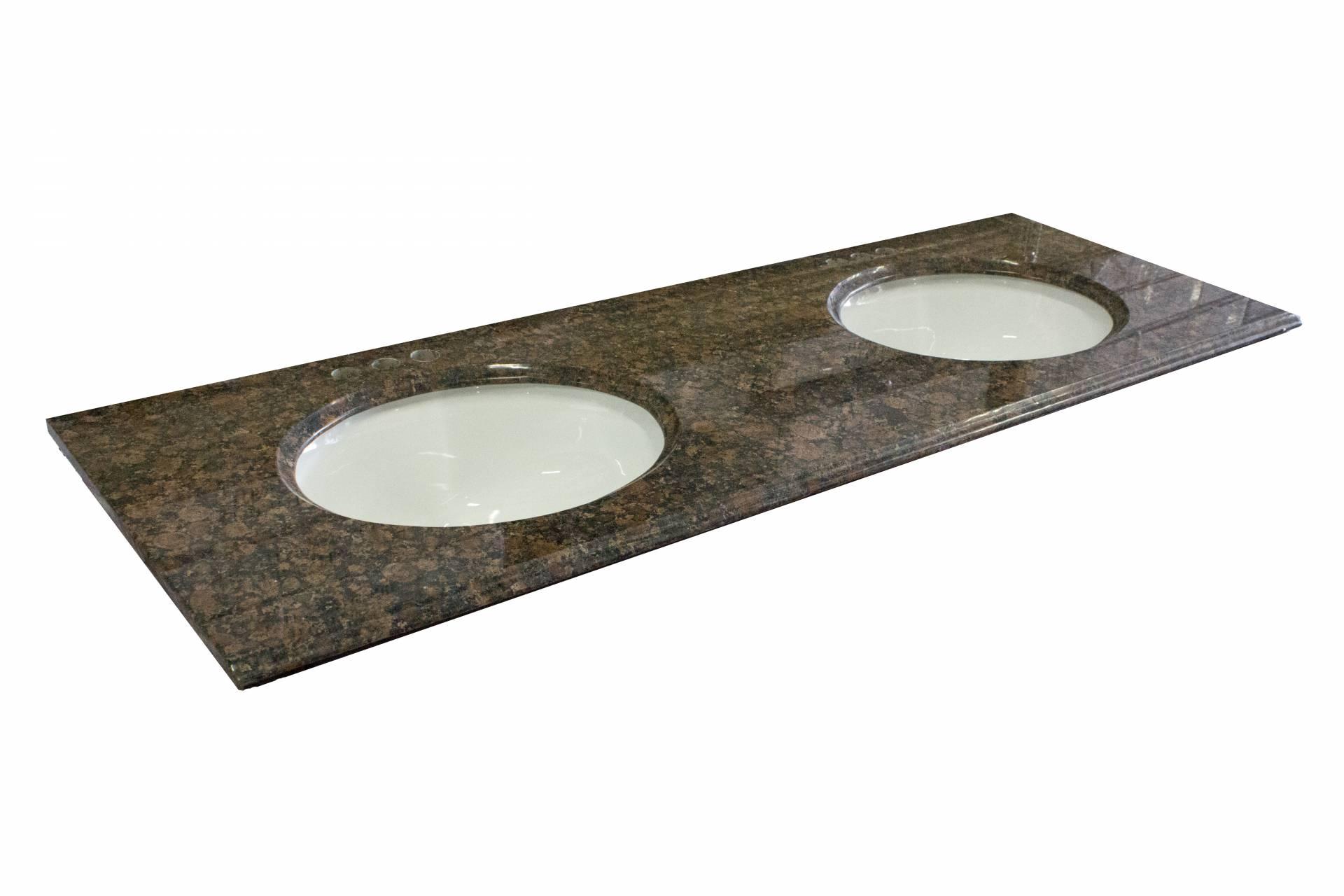 Granite Double Bowl Vanity Top : Double bowl granite vanity top quot baltic brown