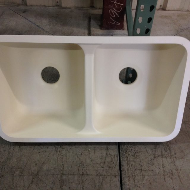 Ivory Double Bowl Composite Undermount Sink