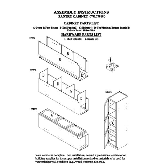 Kitchen Assembly Instructions