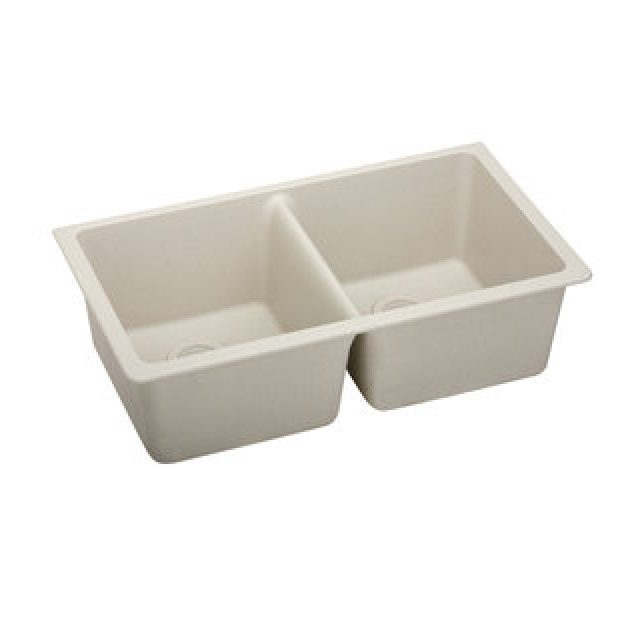 White Double Bowl Composite Undermount Sink