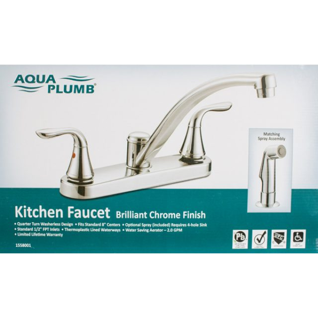 Attrayant Aqua Plumb 2 Handle Kitchen Faucet Chrome