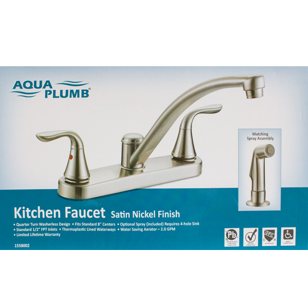 Ordinaire Aqua Plumb Two Handle Kitchen Faucet Satin Nickel
